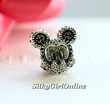 NEW! Authentic Pandora Disney Sparkling Mickey Portrait Charm USB794400