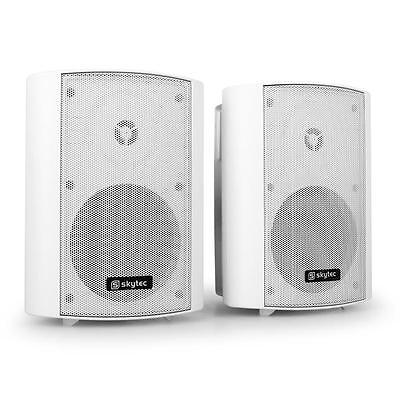 WHITE SKYTEC BAR PUB HI FI SPEAKERS PAIR 100W MAX WALL MOUNTABLE SPEAKER SET
