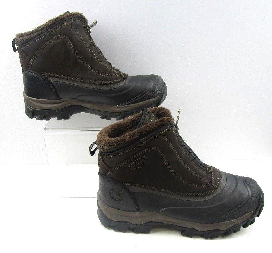 Men's Khombu Brown Leather Zipper Work Boots Size   9 M