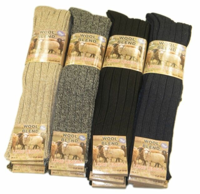 3 Pairs Mens Long Thick Chunky Wool Work Hiking Boot Socks Warm Size UK6-11