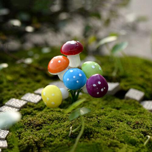 Mini 10x Mushroom Garden Ornament Miniature Plant Pots Fairy DIY Dollhouse vbuk