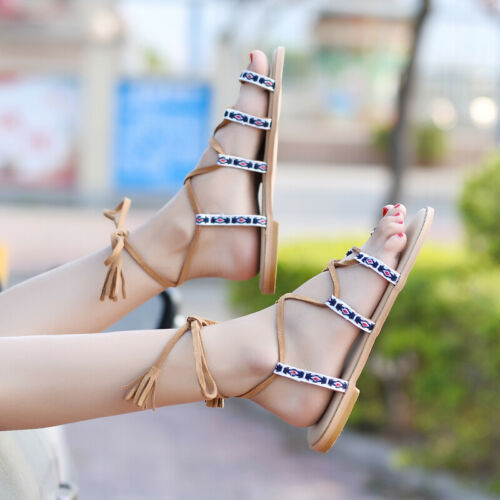Ladies Multi-color Sandals Boho Flats Lace Up Hollow Out Beach Vocation Shoes NW