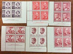 1948-49-Selection-of-6-different-Aust-Pre-Decimal-Imprint-Blocks-of-4-MUH