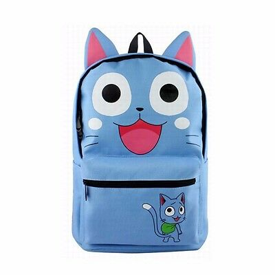 2017 NEW Fairy Tail Happy Backpack Blue Canvas School Travel Bag Rucksack New