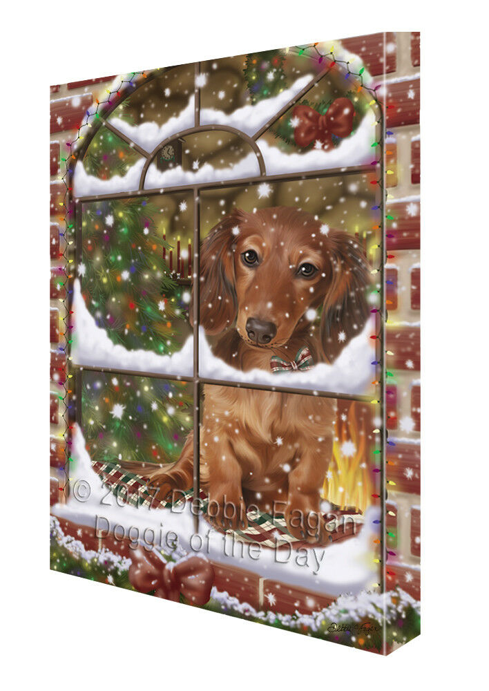 Please Come Home For Christmas Dachshunds Dog Sitting In Window Canvas Wall Art