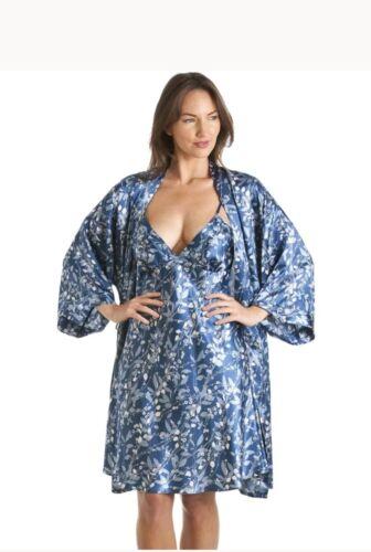 Camille Womens Ladies Luxury Kimono  Blue Floral Print Chemise Wrap Set 10//12