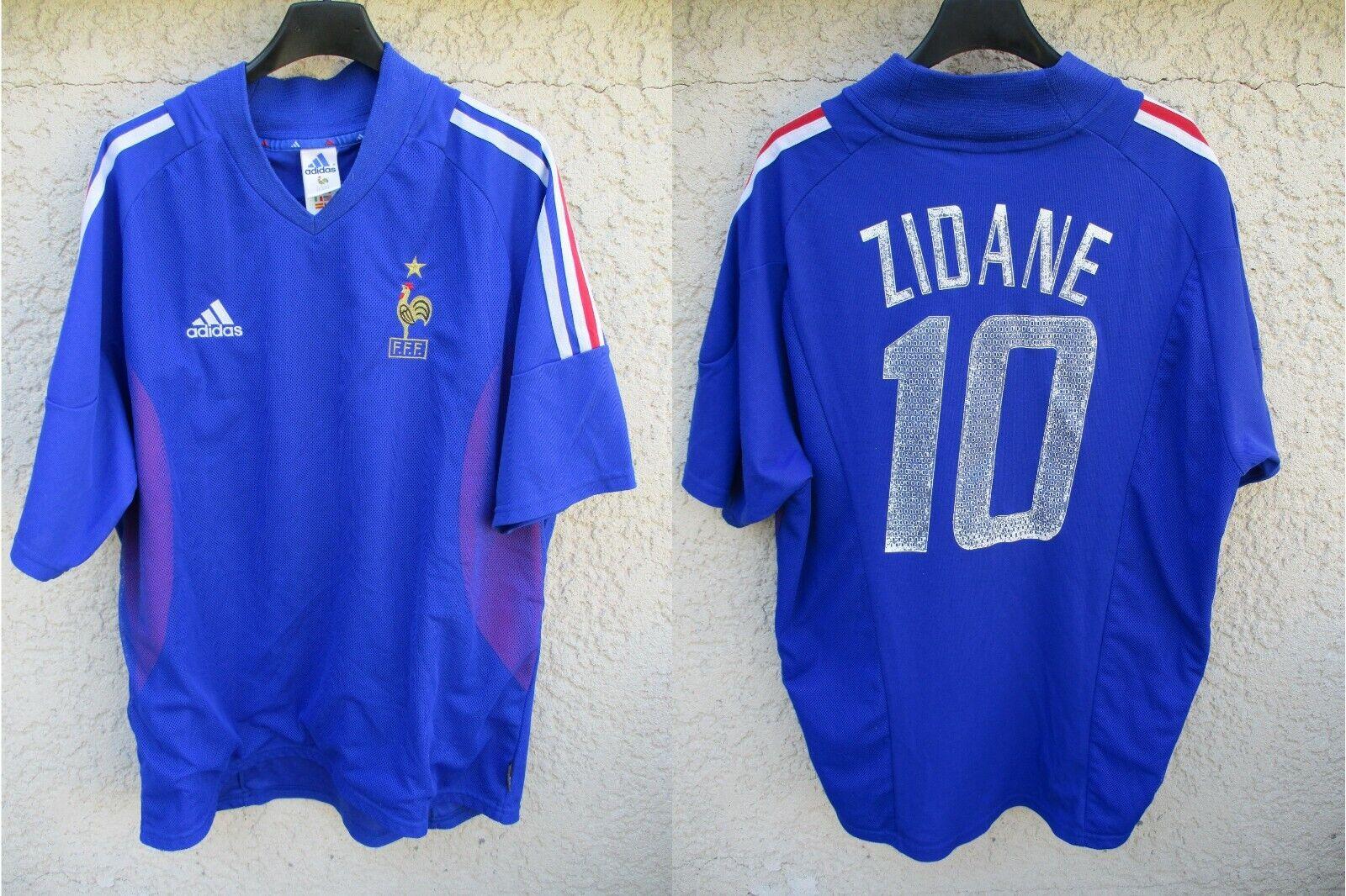 Maillot EQUIPE DE FRANCE World Cup 2002 ZIDANE 10 ADIDAS shirt jersey vintage XL