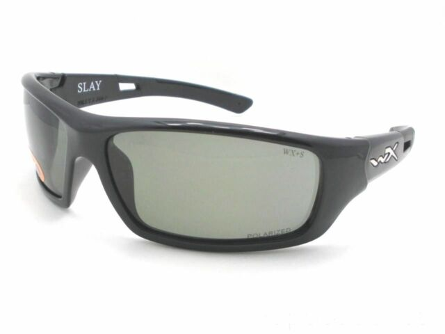 99b65a90a2 Wiley X Slay Gloss Black Frame Polarized Smoke Gray Lens Wxacsla04 ...