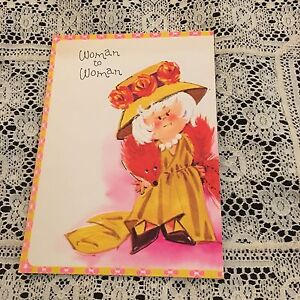 Vintage greeting card birthday retro old lady yellow dress woman image is loading vintage greeting card birthday retro old lady yellow m4hsunfo