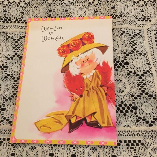 Vintage Greeting Card Birthday Retro Old Lady Yellow Dress Woman