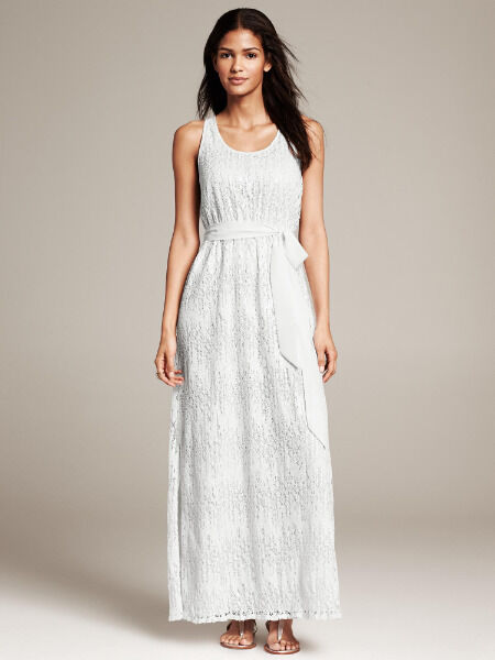Banana Republic 6 Nwt Weiß Crocheted Sequin Overlay Patio Maxi Dress S  6