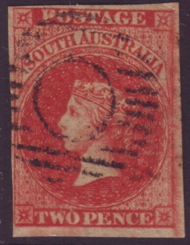SOUTH AUSTRALIA 2d RED QV IMPERF ASC 2 312 MARGINS FU RETAIL $150+ A7114