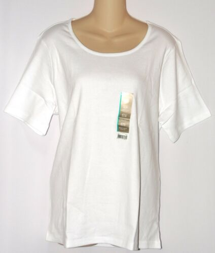 New WHITE STAG Womens Round Crew Neck Cotton Tee Top Short Sleeve Size L or XL