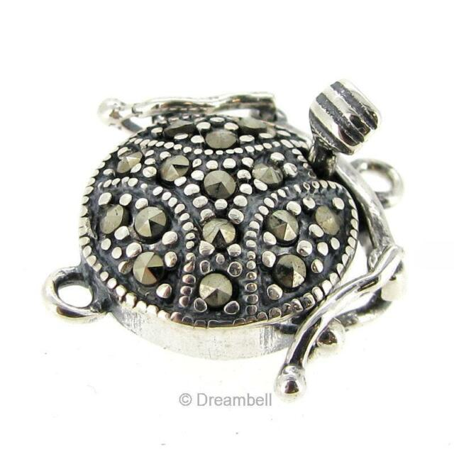 Sterling Silver Roung Marcasite 1-strand Pearl Box Clasp 17mm sc332b