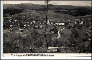 Saupsdorf-Sachsen-DDR-Postkarte-1962-Gesamtansicht-Dorf-Kirche-Panorama-gelaufen