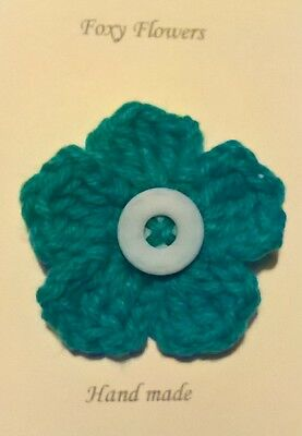 Foxy Flowers Hand Crochet Turquoise Flower - 7cm - Corsage/Brooch - Ideal Gift