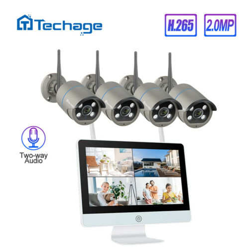 8CH 1080P Wireless LCD Monitor NVR IP66 Phone Remote View Security Camera System