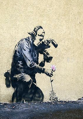 Banksy Street Art Camera Man Flower Poster Print A0-A1-A2-A3-A4-A5-A6-MAXI 024