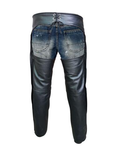 Jeans da Uomo bikers Chaps Vera Pelle nera moto Pantaloni Pantaloni
