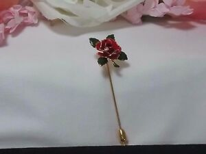 Vintage Rose Flower Rhinestone Plant Brooch Pin
