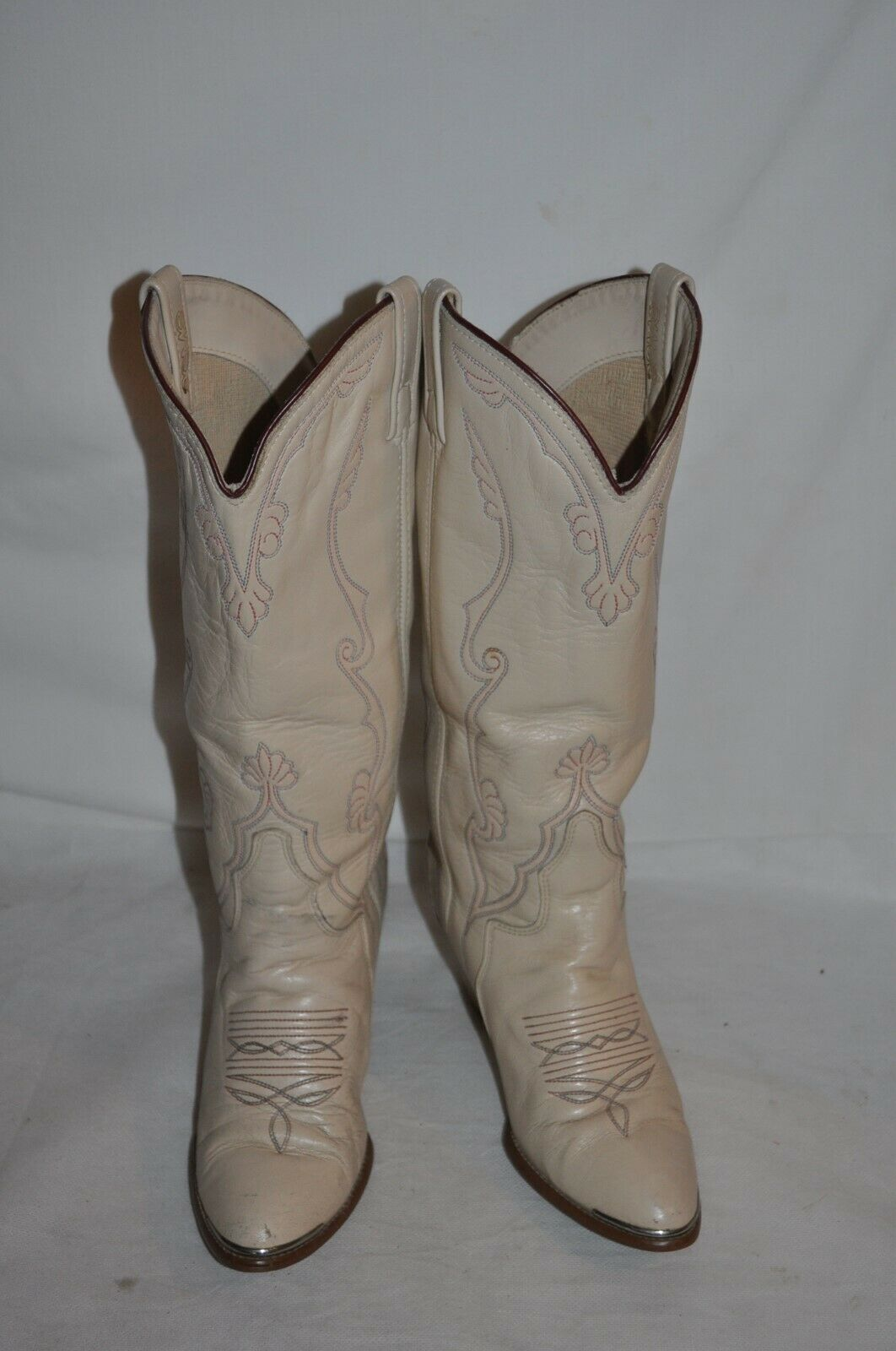 Vintage ACME 80'S  WOMENS 6 M LEATHER STACKED HEEL western BOOTS sexy Boho EUC