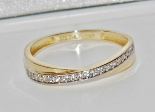 UK Hallmarked 9ct Yellow Gold 0.15ct Crossover Eternity Wedding Ring size R