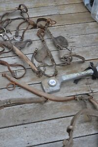 Vintage-Leather-pony-horse-bridle-and-parts-group-lot
