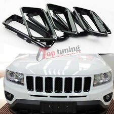7PCS ABS Black Front Grill Grille Insert Trim Cover for Jeep Compass 2011-2015