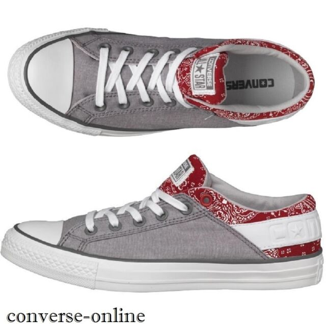bcf9e65c4a5c ... high top canvas sneaker 87cb7 7b1e4 italy mens converse all star band  ox grey red trainers shoes sneakers eu 40 size 304f2 ...