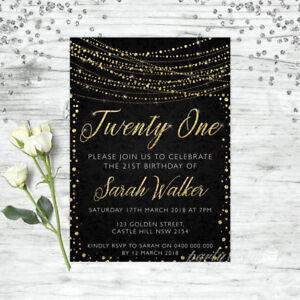 21ST-BIRTHDAY-INVITATIONS-AGE-TWENTY-ONE-PERSONALISED-PARTY-SUPPLIES-INVITE-GOLD