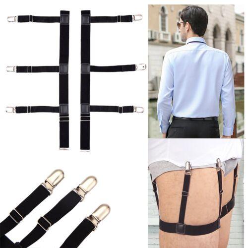 Pair Men Shirt Stays Holder Garters Suspenders Military Uniform Non-slip Locking