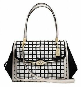 New-With-Tag-COACH-Madison-Graphic-Print-Madeline-Satchel-Bag-28082-Black-White