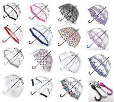 Fulton Birdcage Ladies Walking Length Clear Dome Umbrella Great Range of Prints