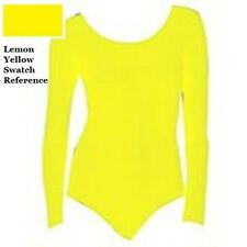 "Mondor 497 Lemon ""Lemona"" Yellow Child Size Medium (7-10) Long Sleeve Leotard"