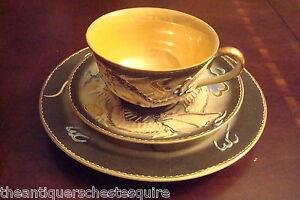 Vintage Dragonware Japan TRIO cup,saucer & cake plate, Moriage dragons[94]