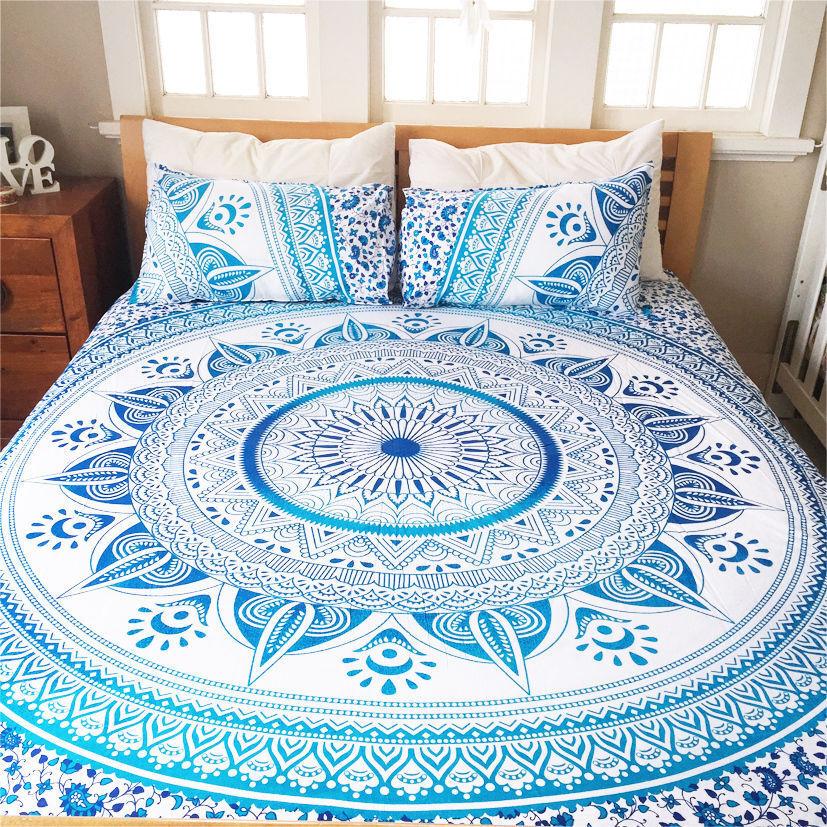 Indian Queen Size Bed Sheet Star Mandala Tapestry Hippie Bohemian Bedding Set