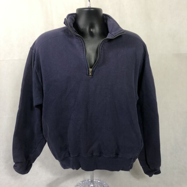 Vintage LL Bean Russell Athletics 1/4 Zip Sweatshirt Made in USA Mens M Blue