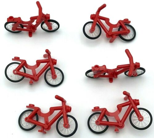 Lego 6 New Red Bicycles Bikes Town City Minifigure Accessories Pieces