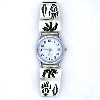 Sharon Cisco Handmade Sterling Silver Mens Bear And Bear Paw Watch ----- W29 T