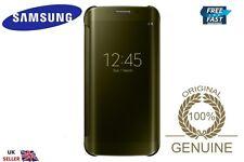 ORIGINALE Samsung Galaxy S6 spigolo / sm-g925 ORIGINALE chiaro FLIP CASE COVER ORO
