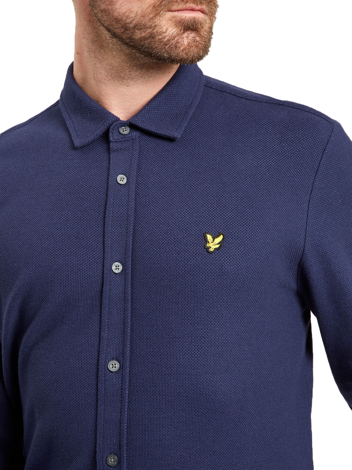 Lyle & Scott Vintage Honeycomb Jersey Jersey Jersey Shirt Slim Cotton Long Sleeve Navy Blau   Ausgezeichneter Wert  5d5819