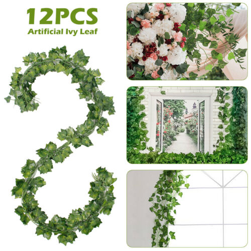 24pc Artificial Hanging Plant Flowers Greenery Vine Leaf Garland Fake Faux Decor
