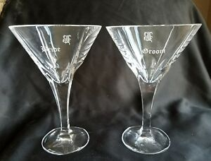 Details About Shannon Crystal Etched Bride Groom Martini Gles Initial B