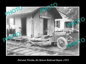 OLD-LARGE-HISTORIC-PHOTO-OF-DeLAND-FLORIDA-THE-STETSON-RAILROAD-DEPOT-c1915