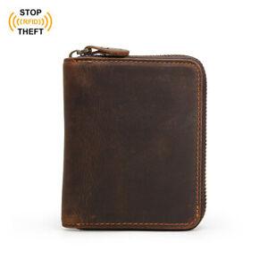 RFID-Herren-Leder-Geldboerse-Kreditkarteninhaber-Muenzfach-Reissverschluss-Tasche