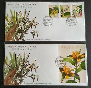 2001-Malaysia-Scented-Flowers-Bunga-Wangi-Stamps-amp-MS-pair-FDC-Melaka-Lot-B
