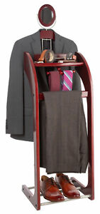 NEW-Wooden-Valet-Stand-for-Clothes-Tray-Organizer-Tie-amp-Belt-Hook-Shoe-Rack