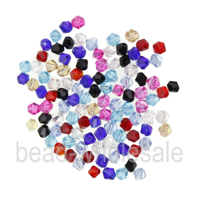 New 100pcs Bicone Faceted Charm Loose Glass Crystal Spacer Beads 14 Colors 4mm
