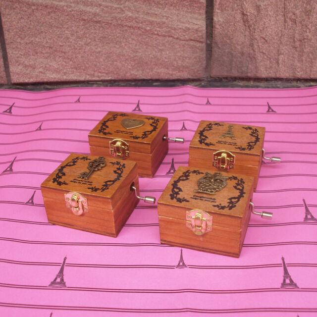 Wooden Hand Crank Sankyo Music Box Memory Soundtrack Theme Gift HOT