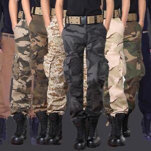 Hombre-Ejercito-Militar-Pantalones-Algodon-Tactico-De-Combate-Camuflaje